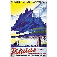 JLFDHR スイスルツェルン観光ポスターリギシャイデックスキークラシックウォールキャンバスヴィンテージポスターホームバーの装飾-60X80Cmx1フレームなし