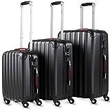 Monzana Juego de 3 Maletas rigidas Negro Conjunto Equipaje de 36L 68L 89L Set de valijas para Viajar Ruedas giratorias