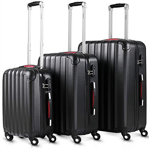 Monzana® Kofferset Baseline 3er Hartschalen-Koffer Trolley Reisekoffer Rollkoffer Handgepäck 4 Rollen M-L-XL Set Schwarz