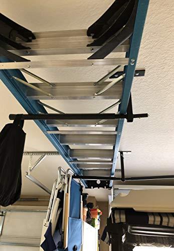 StoreYourBoard Double Ladder Ceiling Rack, Hi Port 2 Garage Storage and Organization, Home Organizer Hanger Mount