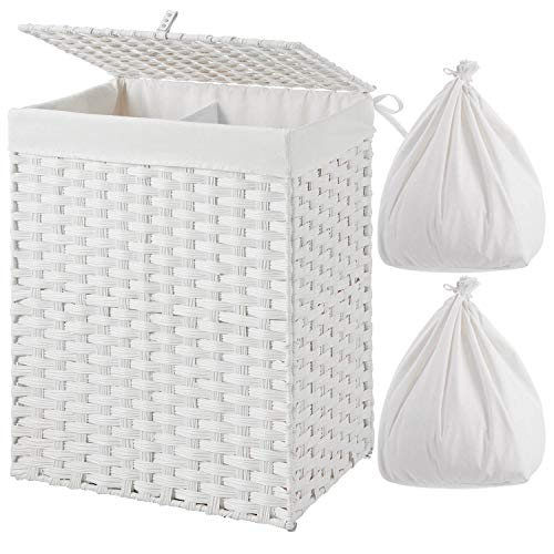 Greenstell Laundry Hamper with 2 Removable Liner Bags Divided Clothes Hamper 90L Handwoven Synthetic Rattan Laundry Basket with Lid and Handles Foldable and Easy to Install White 18x12x24 Inches