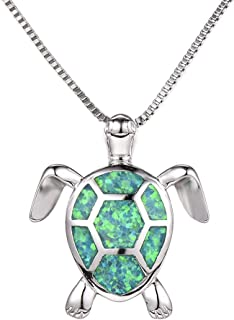 Health and Longevity Sea Turtle Birthstone Jewelry Sterling Silver Created Green Opal Sea Turtle Earring Pendant Necklace Length 18-20 inch