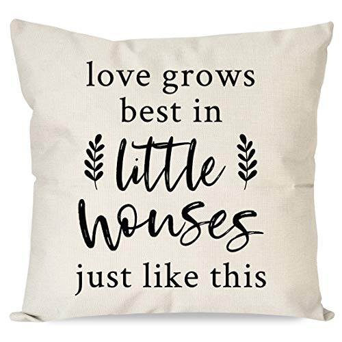 PANDICORN Farmhouse Pillows Covers 18x18 with Quotes Love Grows Best in Little Houses for Home Décor, Rustic Black and Cream Throw Pillow Cases for Couch Living Room