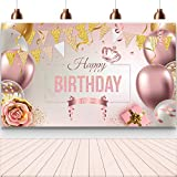 Enjoyfun Happy Birthday Decorations Banner Large Rose Gold Balloons Backdrop Theme Poster for Girl Women Birthday Celebration Banner Party Supplies Photo Booth Studio Props Decor