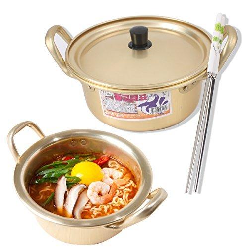 Korean Ramen Noodle Pot 6.3'(16cm) + Chopstick (1 Pair) + Dish scrubber, Made in Korea (Standard version)