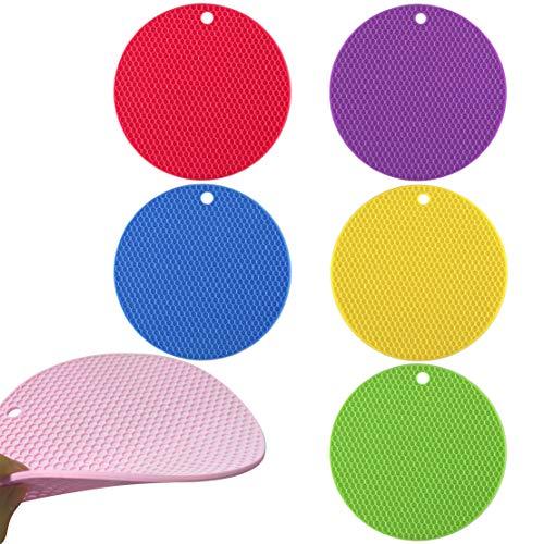 ZJW Salvamanteles de Silicona para Mesa, Silicone Titular de la Olla, Alfombrilla Redonda de Silicona, Posavasos Resistentes al Calor (6 Colores)