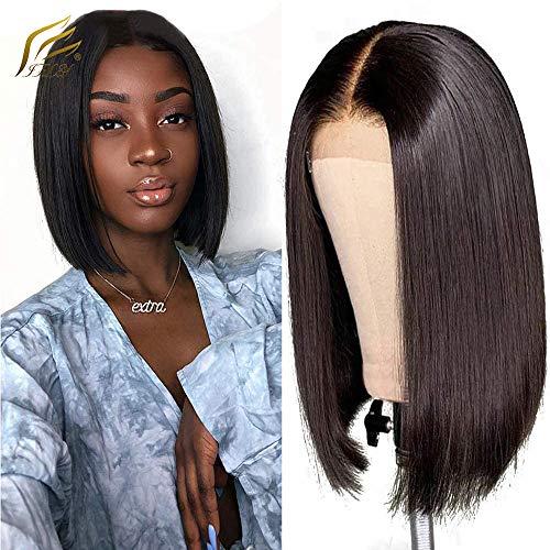 IFLY Perruques Bob Court Perruques Droites 4x4x1 T Part Lace wigs Bresiliennes de Cheveux Vierges Perruques de Cheveux Humains en Dentelle pour Femmes Noires Perruques Cheveux Remy 10 Pouces