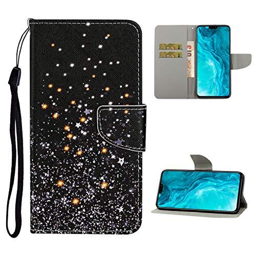 Nadoli Brieftasche Etui für Huawei P40,Schwarz Sterne Muster Bunt Pu Leder Lanyard Standfunktion Magnetisch Handyhülle Schutzhülle Lederhülle mit Kartenfach