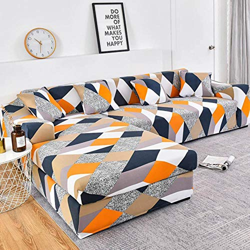 JUIC 1/2 Pieces Sofa Cover Set Geometric Couch Cover Elastic Sofa Cover for Living Pets Corner L Shaped Chaise Longue Sofa Cover,Color 3,2seater and 3seater