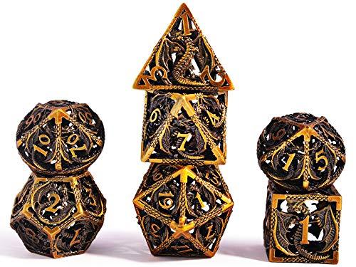 Würfel Set DND Rollenspiel, Dice Set Polyedrische D&D Set Metall Drachenmuster für Brettspiel Dungeons and Dragons Verwendet Wird (Antikes Bronze)