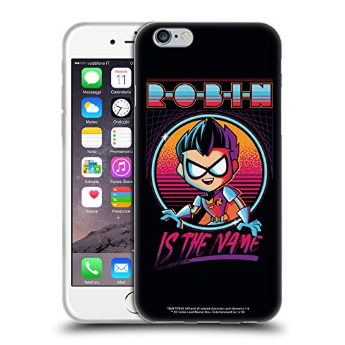 Ufficiale Teen Titans Go! To The Movies Robin Designs Grafici Cover in Morbido Gel Compatibile con Apple iPhone 6 / iPhone 6s