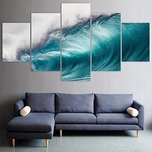 KOPASD Canvas Picture-5 Piece- Blue Wave -150x80cm-5 Part Panels-Ready to Hang-wall art print-Completely framed-Image printed-art on canvas-Christmas Ornaments