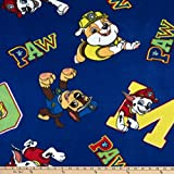 David Textiles Lux Anti-Pill Fleece Patrol Paw Alphabet Fabric, Navy