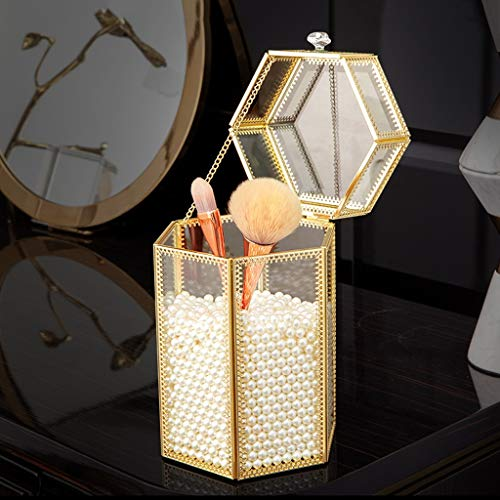 Afairy Cepillo de Maquillaje Gold Storage Barrel Barril Cepillo de Vidrio Transparente Barril para la Caja de Almacenamiento de la cómoda de Escritorio del hogar
