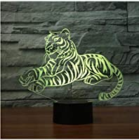 タイガーシェイプ3DLEDナイトライト家の装飾のためのUSBカラフルなイリュージョンテーブルランプ赤ちゃんの寝室の照明
