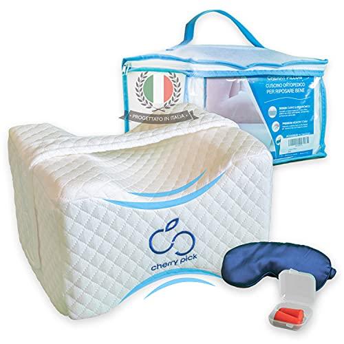 Cherry Pillow - Cuscino per Ginocchia Dormire in Memory Foam Ortopedico. Cuscino per Gambe e Piedi, Ergonomico per Sciatalgia, Lombalgia e Gravidanza. Tappi orecchie e mascherina per dormire inclusi.