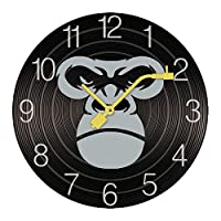 掛け時計 木製 ゴリラ フェイス ウォールクロック 壁掛け時計 アナログ おしゃれ 装飾 北欧 連続秒針 静音 壁掛け時計 掛時計 モダン インテリア 大数字 見やすい 電池式 自宅 寝室 部屋飾り 贈り物 直径25/30cm プレゼント レトロなスタイル