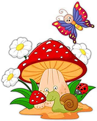 Gadgets wrap Mushroom, Daisies, Snail and Butterfly Skin Sticker for Wall Home Office