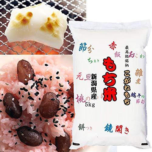 【精米】新潟県産 白米 無洗米(袋再利用) 白米 最高級もち米 こがねもち 5kg(長期保存包装)x1袋 令和2年産 新米
