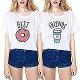 Camiseta Best Friend Impresion Elegante T-Shirt Friends TV Show Verano Mujer Básico Camisas Manga Corta Mejores Amigas Adolescentes Chicas Boyfriend tee Blusa Estampada Niña Hip Hop Top tee