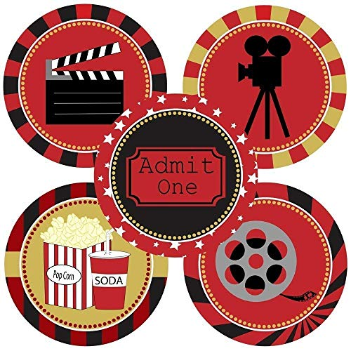 Movie Night Sticker Labels - Cinema Theater Party Supplies Decoration - Set of 50