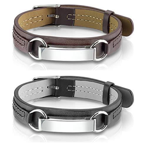 Tapsi´s Coolbodyart®  Herren Armband Leder Schwarz und Tan, Edelstahl Erkennungsmarke Silber, Gold Spiegelpoliert 2er Set