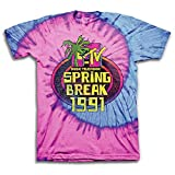MTV Mens Tie Dye Shirt - #TBT Mens 1980's Clothing - I Want My T-Shirt (Spring Break, Large)