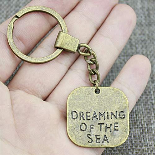 N/ A 30x30mm Big Size einseitige Träume vom Meer Schlüsselring VintageMode Metall Schlüsselanhänger Party Geschenk
