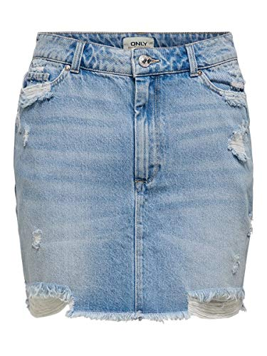 ONLY Damen ONLROSE ASHAP Life REG SKT Dest BB BEX03 Rock, Medium Blue Denim, 36