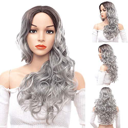 YWJH Haar Perücke, langes gelocktes Haar für Frau synthetische Perücke, Synthetic Hair Lace Front Wigs für Frauen Perücken