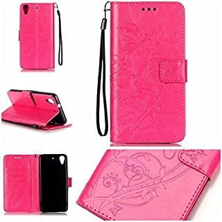 Ooboom HTC Desire 626/626S Case PU Leather Wallet Stand Emboss Butterfly Flower Magnetic Flip Cover with Card Slots Cash Holder Wrist Strap for HTC Desire 626/626S - Hot Pink