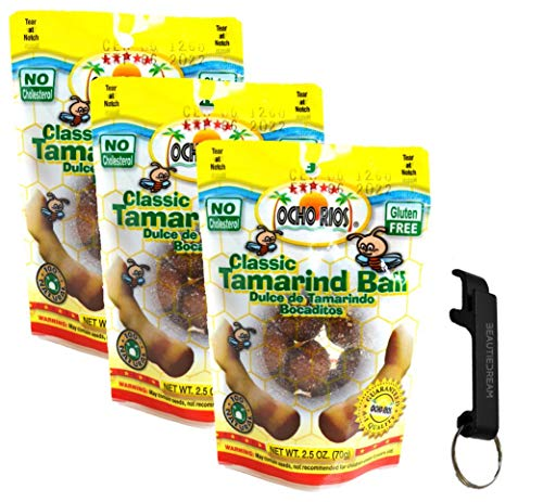 Ocho Rios Tamarind Ball Candy 2.5oz Pack of 3 with Keychain Bottle Opener in Sealed O Datz Good Packaging
