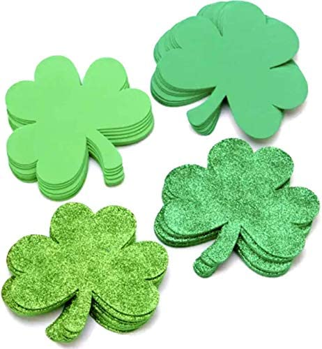 36 Pcs St Patrick s Day Foam Shamrocks Shapes Glitter Green Glitter Lime Green Foam Lucky Irish product image