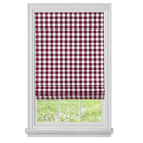 Achim Home Furnishings, Burgundy Cordless Buffalo Check Roman Window Shade, 33' x 64'