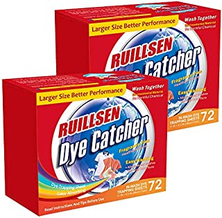 RUILLSEN Dye Trapping Sheets, Laundry Fragrance Free Color Catcher Collector in-Wash 72X2 Count Color Savers Laundry Sheets Prevent Light Colored Clothes from Being Dyed