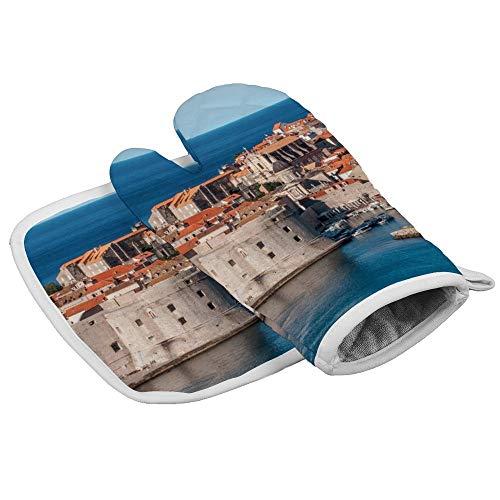 UKSILYHEART Oven Mitts and Pot Holder Or Oven Gloves Insulation Gloves Dubrovnik Heat-Resistant Kitchen Set