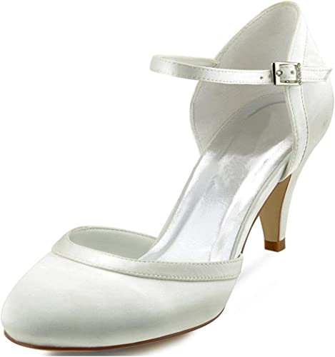 ZHRUI Les Les dames Amande Toe Bride à la Cheville Satin Chaussures de soirée de Mariage (Couleuré   Ivory-5cm Heel, Taille   2.5 UK)