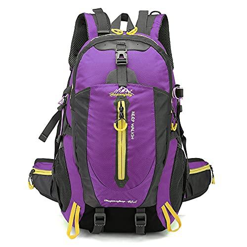 40L Waterproof Climbing Rucksack Travel Hiking Backpack Laptop Daypack Trekking Backpack Outdoor Men Women Sport Bag-Purple