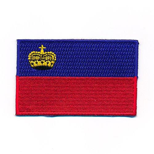 40 x 25 mm Fürstentum Liechtenstein Vaduz EU Flagge Aufnäher Aufbügler 1004 A