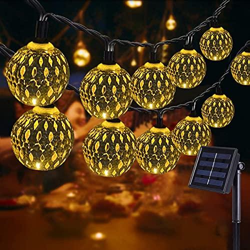 NLNEY LED Solar Marokkanische Lichterketten Außen, 7M 50er LED Lichterketten Aussen, 8 modi Solar Lichterkette Wasserdicht Lichter Beleuchtung für Garten, Terrasse, Hof, Haus, Weihnachten, Party