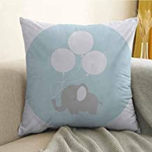 Antony Petty Elephant Nursery Microfiber Little Baby Elephant with Big Balloons Happiness Funny Icon Sofa Cushion Cover Bedroom car Decoration W20 x L20 Inch Mauve Pale Blue White