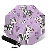 Paraguas plegable de viaje, diseño de caballo de cebra con flores florales en púrpura púrpura automático TRIF-Old paraguas a prueba de viento para mujeres con protección UV Auto abierto y cierre