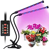 Plant Grow Light,2018 Latest Timer Function (Auto Turn On/Off), Dual Head 36 LED (18w)with Red/Blue Spectrum, 5 Dimmable Levels,Flexible 360 Degree Gooseneck forIndoor Plants Seeding Growing