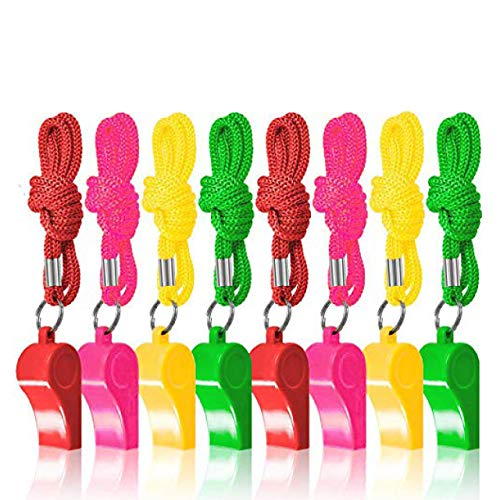 60 Silbatos de Neón de Plástico con Cordones| Colores Vibrantes, Sonido Fuerte, Resistente| Entrenamiento Emergencia Deportes Arbitro Cumpleaños Regalos Relleno Bolsas de Fiesta Piñata para Niños.