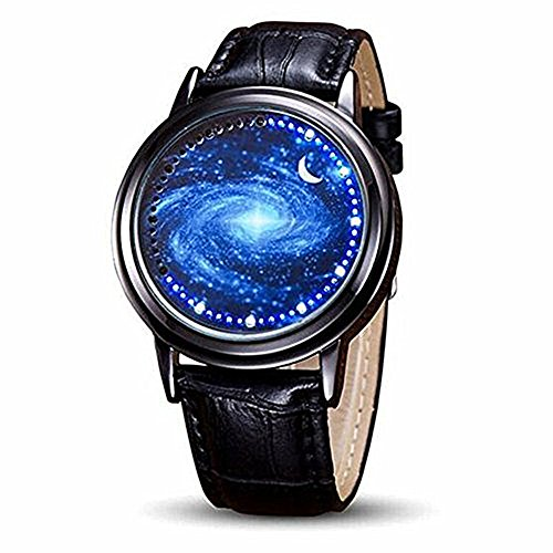 MINILUJIA 30M Waterproof Binary Fashion Led Touch Screen Watch Starry Sky Watch Universe Milky Way Unique Cool Men Watches with Soft Leather Strap Band Black (Milky Way Blue)