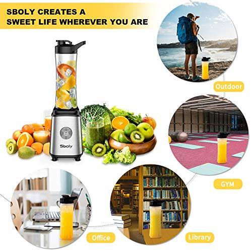Sboly Personal Blender, Single Serve Blender for Smoothies and Shakes, Small Juice Blender with 2 Tritan BPA-Free 20Oz Blender Cups and Cleaning Brush, 300W