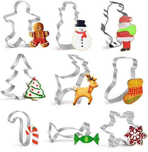 WUMU 9 Stück Ausstechformen Weihnachten, Plätzchen Ausstecher, Fondant Ausstecher Set, Ausstechformen Set, Keksausstecher Weihnachten, Fondant Ausstechformen für Weihnachten Kekse Backen Kinder