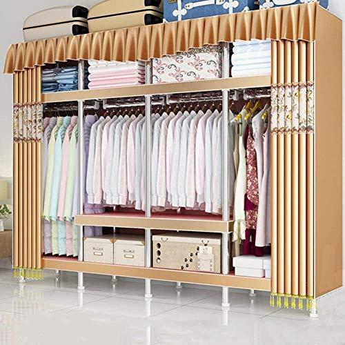 CXVBVNGHDF Armario de Tela Armario portátil Organizadores de Armario con 4 rieles de Ropa, 9 estantes para Dormitorio, Sala de Estar, Beige