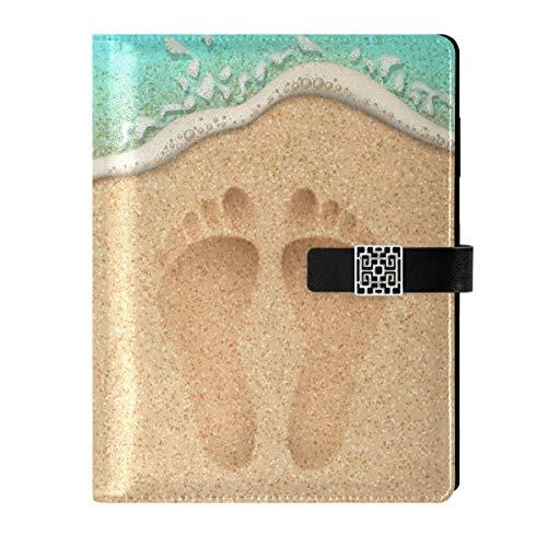 Cuaderno de piel para diario de viaje, playa, playa, agua de mar, rellenable, tamaño A5, interior, con anillas, cuaderno de tapa dura, regalo para mujeres y hombres