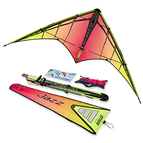 Prism Kite Technology JAZY Jazz 2.0 Dual-line Sport Kite, Infrared, Ready to Fly with Flying Lines, Wrist Straps, Winder, Instructions and Storage Bag
